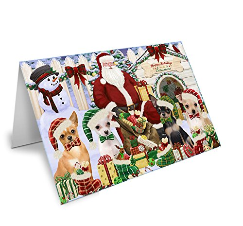 Happy Holidays Christmas Chihuahuas Dog House Gathering Greeting Card GCD58367 (10)