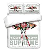 iPrint Duvet Cover Set,Hawaiian,Tropical Hawaii Hibiscus Surfing Girl Silhouette Surfboard Retro Themed Artprint,Coral Green,Best Bedding Gifts for Family Or Friends