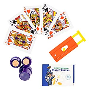 Learn & Climb Magic Tricks for Kids- Set of 3 Unique Props kit Includes Paper to Coin Trick, Finger Chopper ,Set of Magical Cards and Easy to Follow Instructions