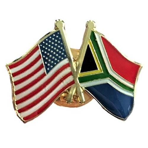 A-South Africa Friendship Pin/American South African Crossed Flags Broach ()
