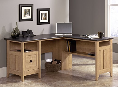 "Sauder 412320 August Hill L-Shaped Desk, L: 59.06"" x W: 58.74"" x H: 29.25"", Dover Oak Finish"