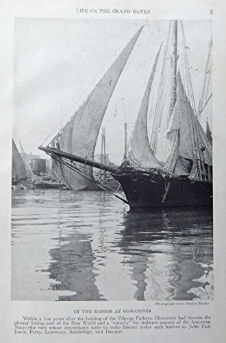 Harbor at Gloucester, 1921 print art, (Pilgrim Fathers) Rare 1921 National Geographic Magazine - Stores Harbor At National