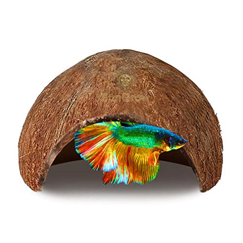 SunGrow Betta Fish Cave, 5x3 Inches, Habitat Made from Coconut Shell, Soft-Textured Smooth Edged Spacious Hideout, for Resting and Breeding, Encourages Physical Activity (Best Habitat For Betta Fish)