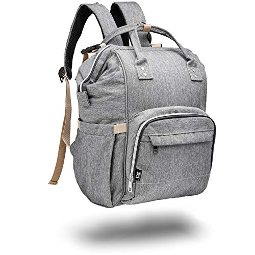(Large Grey Diaper Bag Backpack, Baby Caboodle Travel Back Pack, Supplies Bag For Twins, MultiFunction, Unisex (for Mom, Dad, or Nanny) Stylish Gray and Durable Design, Maternity Nappy Bags, Waterproof)
