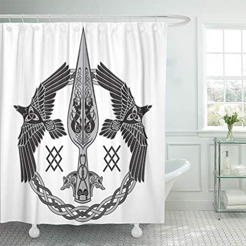 Emvency Shower Curtain 72x72 Inch Home Postcard Decor Viking The Spear of God Odin Gungnir Two Ravens and Scandinavian Pattern White Crow Shower Hooks Set are Included