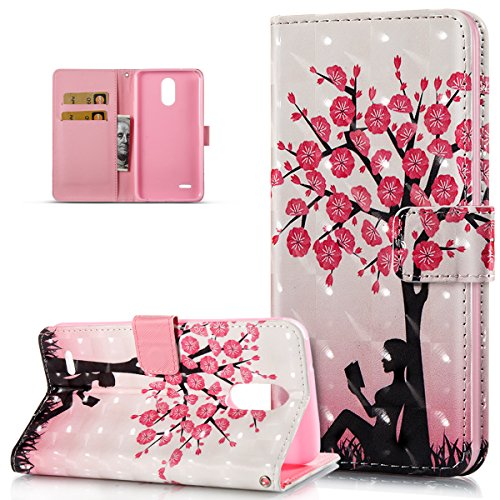 LG Stylo 3 Case,LG Stylo 3 Plus Case,ikasus 3D Art Painted Butterfly Flower Flip Folio Wallet PU Leather Stand Card Slot Protective Case Cover for LG Stylo 3/Stylo 3 Plus/LG LS777,Cherry Blossoms Tree