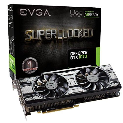 EVGA GeForce GTX 1070 SC GAMING ACX 3.0 Black Edition, 8GB GDDR5, LED, DX12 OSD Support (PXOC) 08G-P4-5173-KR (Renewed) ()