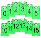 Unlimited Potential Nylon Mesh Numbered Scrimmage Team Practice Vests Pinnies Jerseys for Children Youth Sports Basketball, Soccer, Football, Volleyball (Green Numbered, Adult)