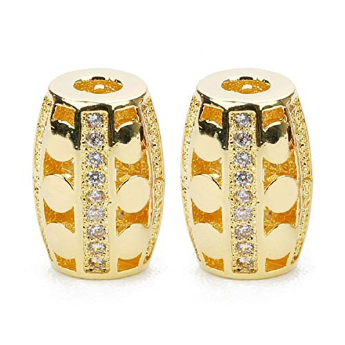 2 Pcs/Lot Round Spacer Beads Metal Copper Hole Size 3mm Pave Cz Loose Spacer Charms Beads for DIY Jewelry Finding,Golden Color