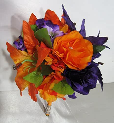 Whole Foods Wedding Bouquet: Amazon.com: Purple Orange Rose Tiger Lily Bridal Wedding