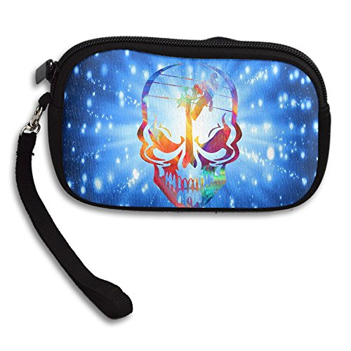 Lineman Skull Electrician Neon Women's Portable Zipper Coin Purse Business Card Wallet