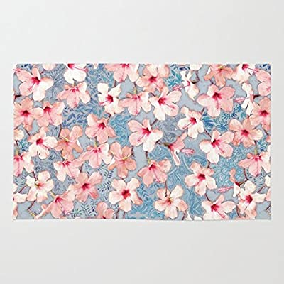 Society6 Shabby Chic Hibiscus Patchwork Pattern In Pink & Blue Rug