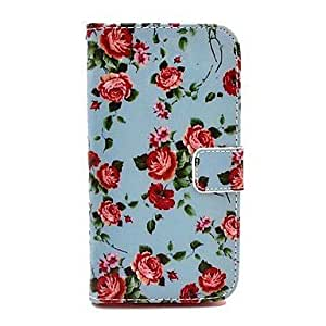 Blue Backgroud Rose Flower Pattern PU Leather Full Body Case with Card Slot for Samsung Galaxy S5 I9600