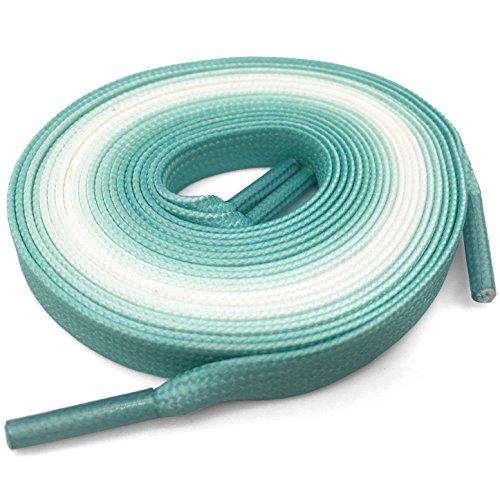 DANHUA Flat Colorful Shoelaces 55.12 inch Gradient Rainbow Shoe Lace Mint Green Shoestring 2 (Rainbow Light Mint)