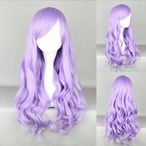 Ladieshair Cosplay Perücke lila 70cm lockig Anime Manga
