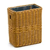 The Basket Lady Large Wicker Waste Basket with Metal Liner, One Size, Toasted Oat