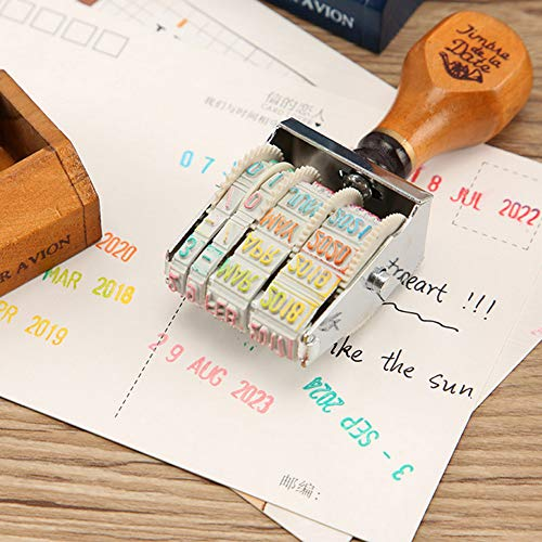 bjduck99 DIY Vintage Wooden Handle Date Stamp Rolling Wheel Scrapbooking Stationery Decor Gift - Coffee by bjduck99 (Image #3)