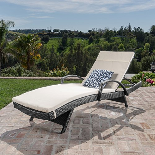 Christopher Knight Home 545 Salem Outdoor Grey Wicker Armed Chaise Lounge with Beige Water Resistant ()