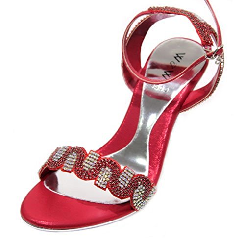 W&W Women Ladies Bridal Diamante Sandal Heel Dressy Holiday Party Evening Shoes Sandals Size (Black,Silver,Gold,Baby Pink,Red,Move)MINGL Red