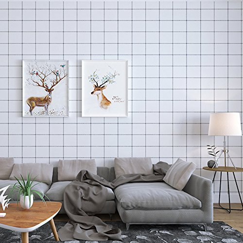 White Plaid Wallpaper (Amao Black and White Plaid Nordic Style Self-adhesive Wallpaper Sticker Contact Paper for Bedroom Kitchen Living room 24''x79'')