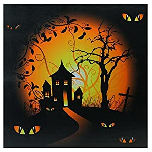 Northlight LED Lighted Spooky House and Eyes Halloween Canvas Wall Art, 19.75″ x 19.75″, Black