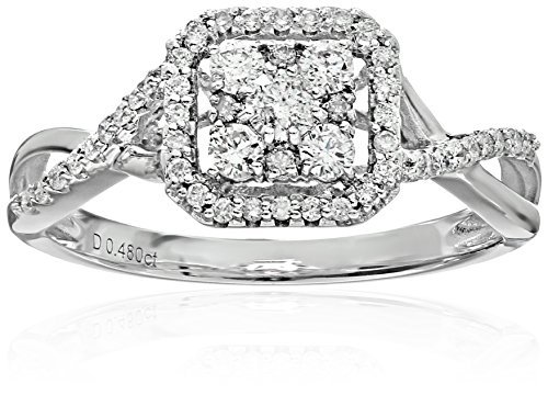 Bridal Diamond Rhodium Twisted Engagement