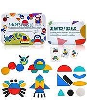 BelleStyle Puzzles De Madera Bloques De Madera Blocks Juguetes, 36 Montessori Puzzle de Madera + 60 PCS Diseño Tarjetas de Apilamiento Juegos y Juguetes Educativos Clasificación de la Infancia