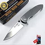 SPRING ASSISTED FOLDING POCKET Sharp KNIFE Tac-Force Mirror Silver Chrome Everyday Carry Combat Tactical Knife + eBOOK by Moon Knives