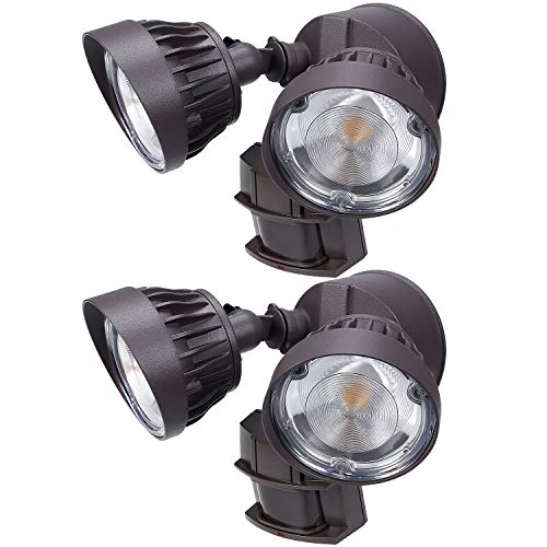 LEONLITE 2 Pack Dual-Head Motion Activated LED Security Light, 3300lm Ultra Bright, 30W (200W Equiv.), ETL & DLC Certified, IP65 Waterproof, 3000K Warm White, 5 Years Warranty - Brown