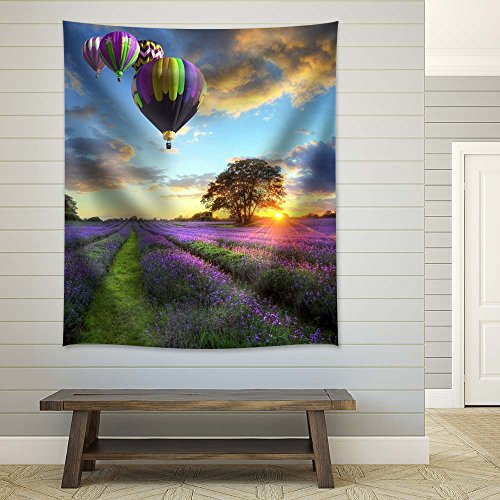 Hot Air Balloons Above a Lavender Field