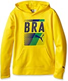 PUMA Big Boys' Brazil Olympic Hoodie and Carry Sack, Cyber Yellow, X-Large (18/20)