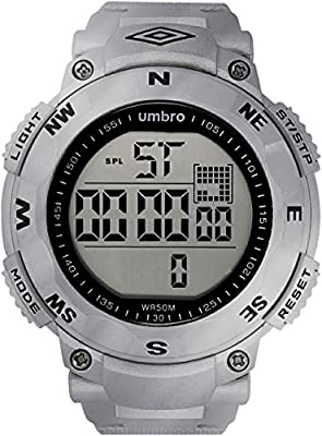 UMBRO UMB-01-4 Unisex ABS Silver Band, ABS Bezel 50mm Case Digital MIYOTA 2025 Electronic Precision Movement Water Resistant 5 ATM Sport Watch