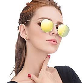 7c947703011cc LianSan Classic Metal Frame Round Circle Mirrored Sunglasses Men Women  Glasses 3447