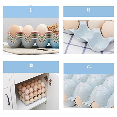 JAMOR 15 Grid Wheat Straw Egg Storage Box Household Eggs Tray Refrigerator Crisper Kitchen Essential (Beige) by JAMOR (Image #3)