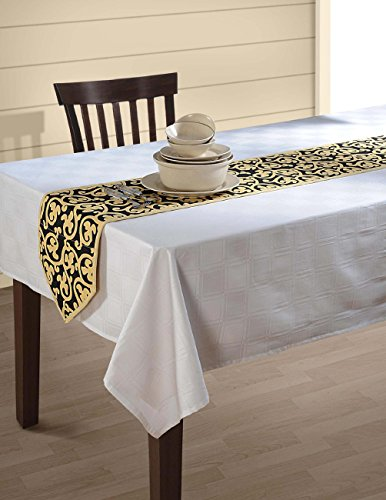 Table Runner - 13 x 72 Inches Indian Patterned Duck Cotton - Beige and Black Clover Scroll (Dresser Top Runner)