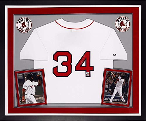 David Ortiz Boston Red Sox Autographed Deluxe Framed Majestic Home Jersey - Fanatics Authentic - Majestic Authentic Home Jersey Autographed