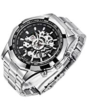 Gute Classic Skeleton Mechanical Wristwatch Automatic Steel Watch Silver Black X Dial