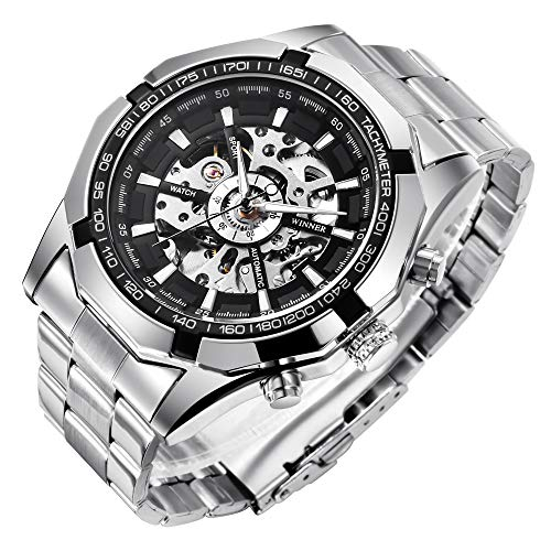 (Gute Classic Skeleton Mechanical Wristwatch Automatic Steel Watch Silver Black X)