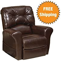 Catnapper Power Lift Chair Lay-Flat Recliner w/ Comfort Coil Seating Featuring Comfort-Gel-Soft & durable bonded leather fabric -Transitional tufted design (Java)- Weight Capacity 350 lb