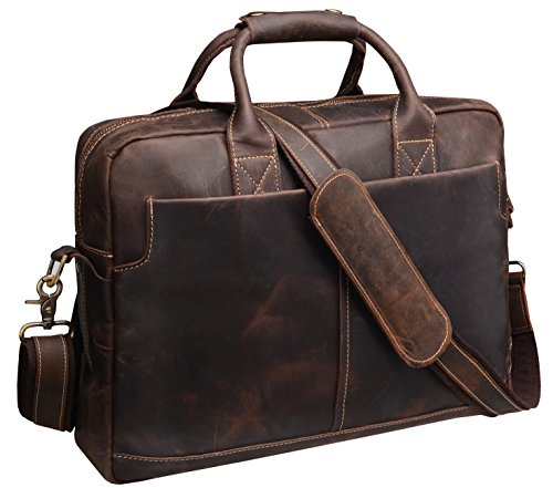 Iswee Crazy Horse Cowhide Leather Durable Shoulder Briefcase Laptop Messenger Bag (Soft Attache)