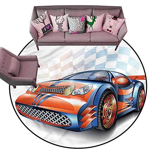 Bathroom Floor mats Cars,Cartoon Style Race Car Diameter 66