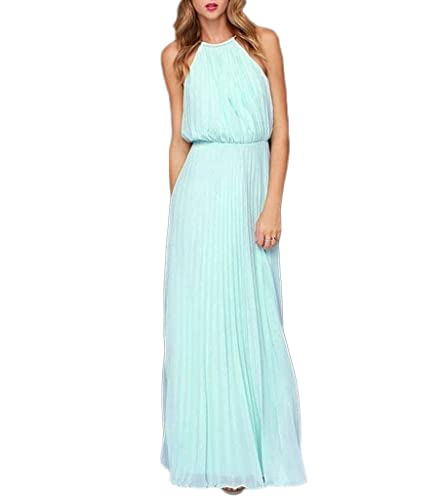 Persun Women's Open Shoulder Cut Out Back Pleated Chiffon Sleeveless Maxi Dress