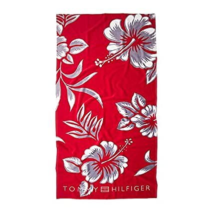 Tommy Hilfiger Blu-ray Flower Towel Toalla de playa, color rojo