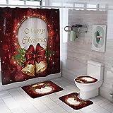 Qenci Christmas Print Bathroom Shower Curtain and Mat Set Practical Non-Slip Bathroom Accessory Sets