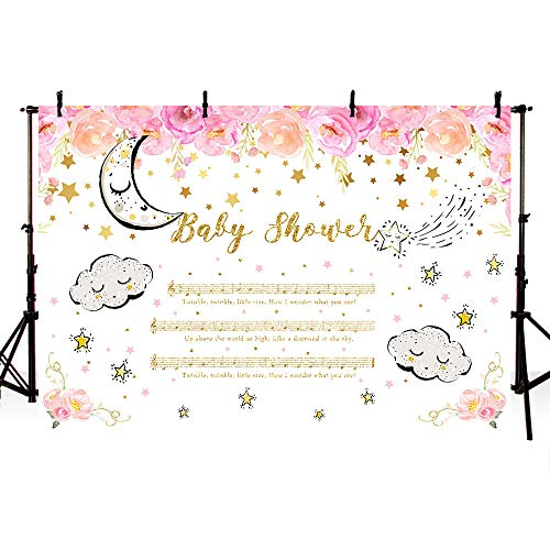 MEHOFOTO 7x5ft Music Girl Baby Shower Party Backdrop Twinkle Twinkle Little Star Notation Cartoon Moon Cloud Stars Pink Floral Photography Background Photo Banner for Dessert Table Supplies]()