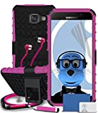 Samsung Galaxy A5 (2016) SM-A510F Pink Shock Proof Rugged Hard Case with Viewing Stand - LCD Screen Protector - Retractable Mini Stylus Pen - 3.5mm ZIPPER Stereo Hands Free HeadPhones with Mic