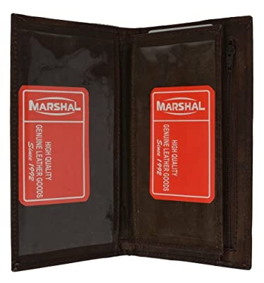 Marshal Wallet Leather Checkbook Wallet Card Case Removable Check Cover Allin1 Pocket Secretary (Brown)