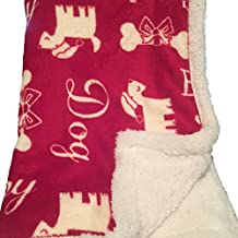 Humane Society Red Plush Fetch Sherpa Fleece Throw Blanket with Dogs with Santa Hats, Bones, Holiday Theme
