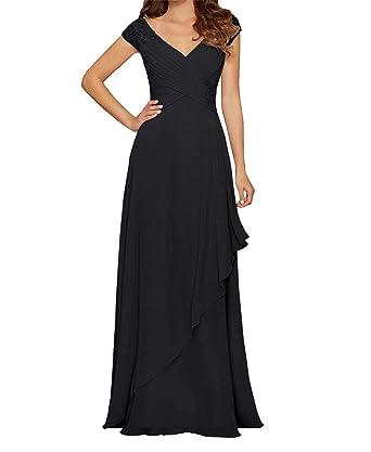7ab55227d6 liangjinsmkj Cap Sleeve Beaded Chiffon Ruffled Bridesmaid Dresses V Neck  Prom Party Evening Gowns Black US2