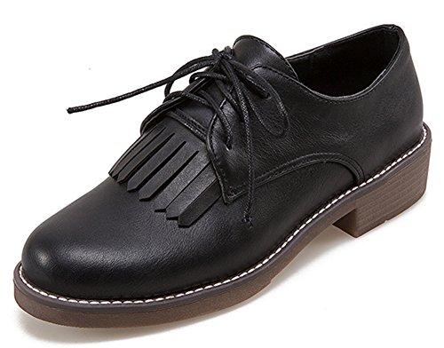 IDIFU Womens Retro Fringed Lace Up Low Chunky Heels Oxfords Shoes Black